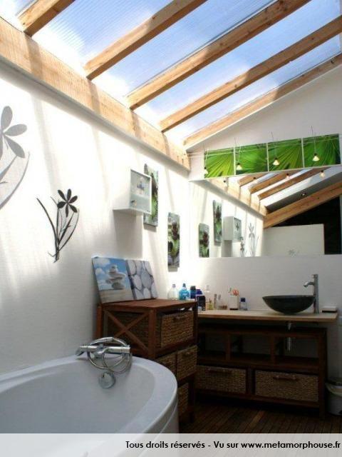 Salle de bain Moderne Design Contemporain Blanc Bois baignoire - salle de bain moderne douche italienne