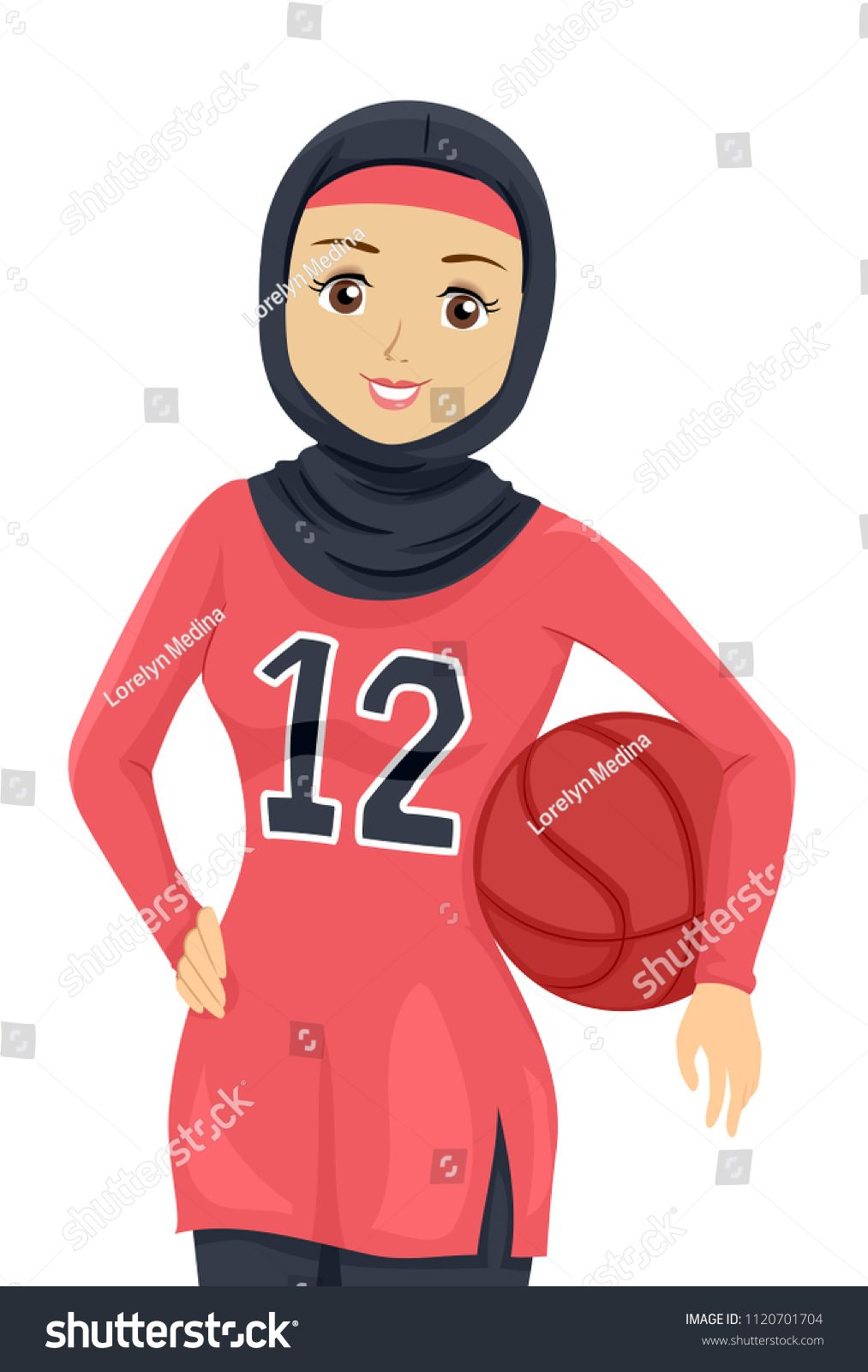 Illustration of a Teenage Muslim Girl Wearing Athletic Clothes and