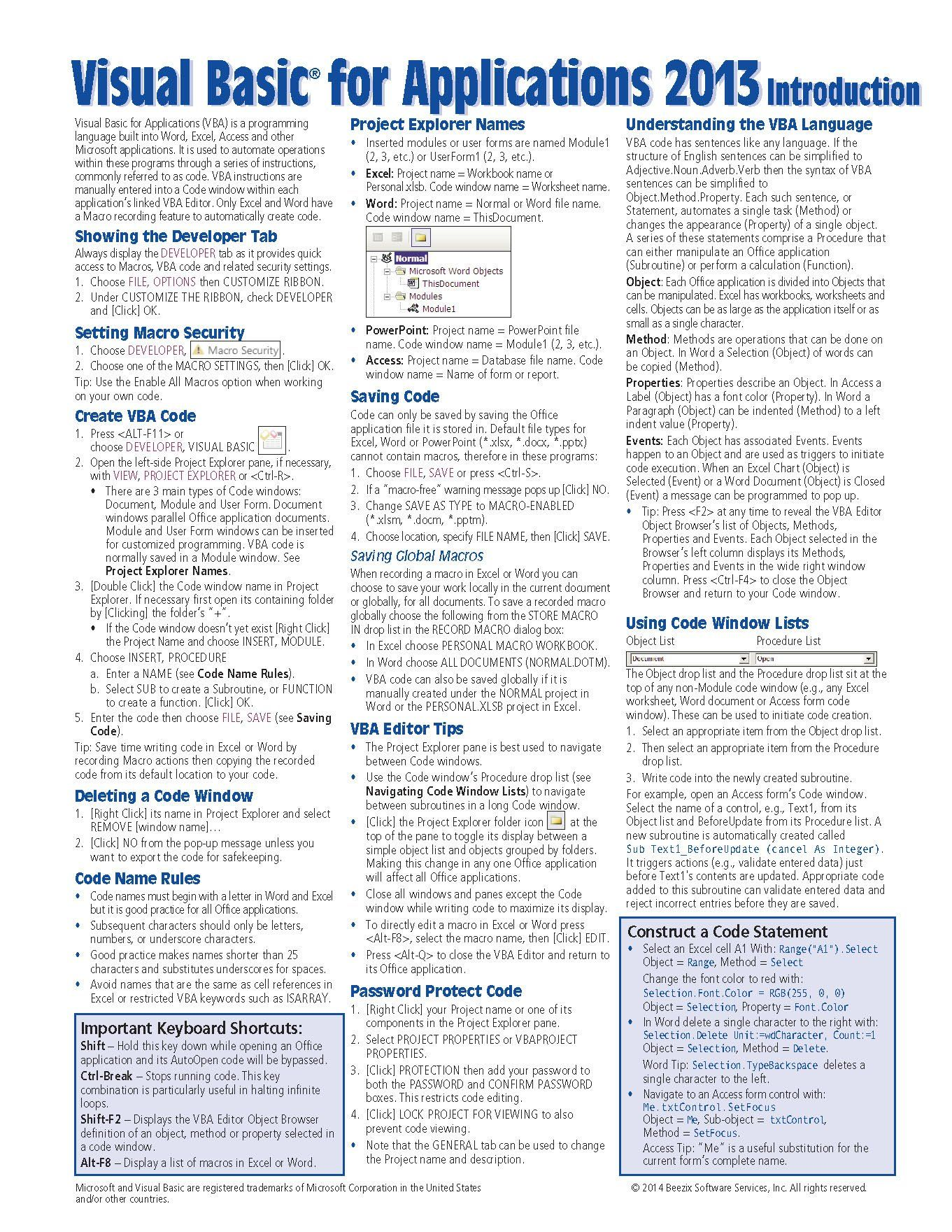 Visual Basic For Applications Vba Quick Reference Guide Introduction Cheat Sheet Of