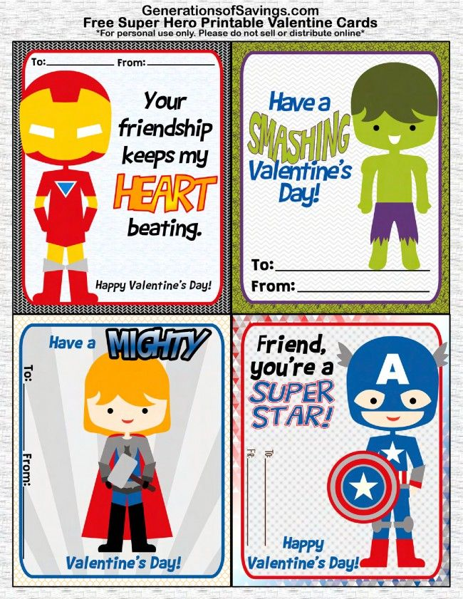 FREE Printable Superhero Valentines Day Cards – Valentine Card Free Printable