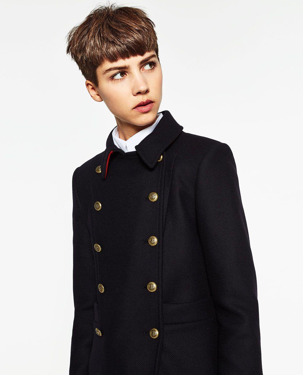Manteau court noir zara