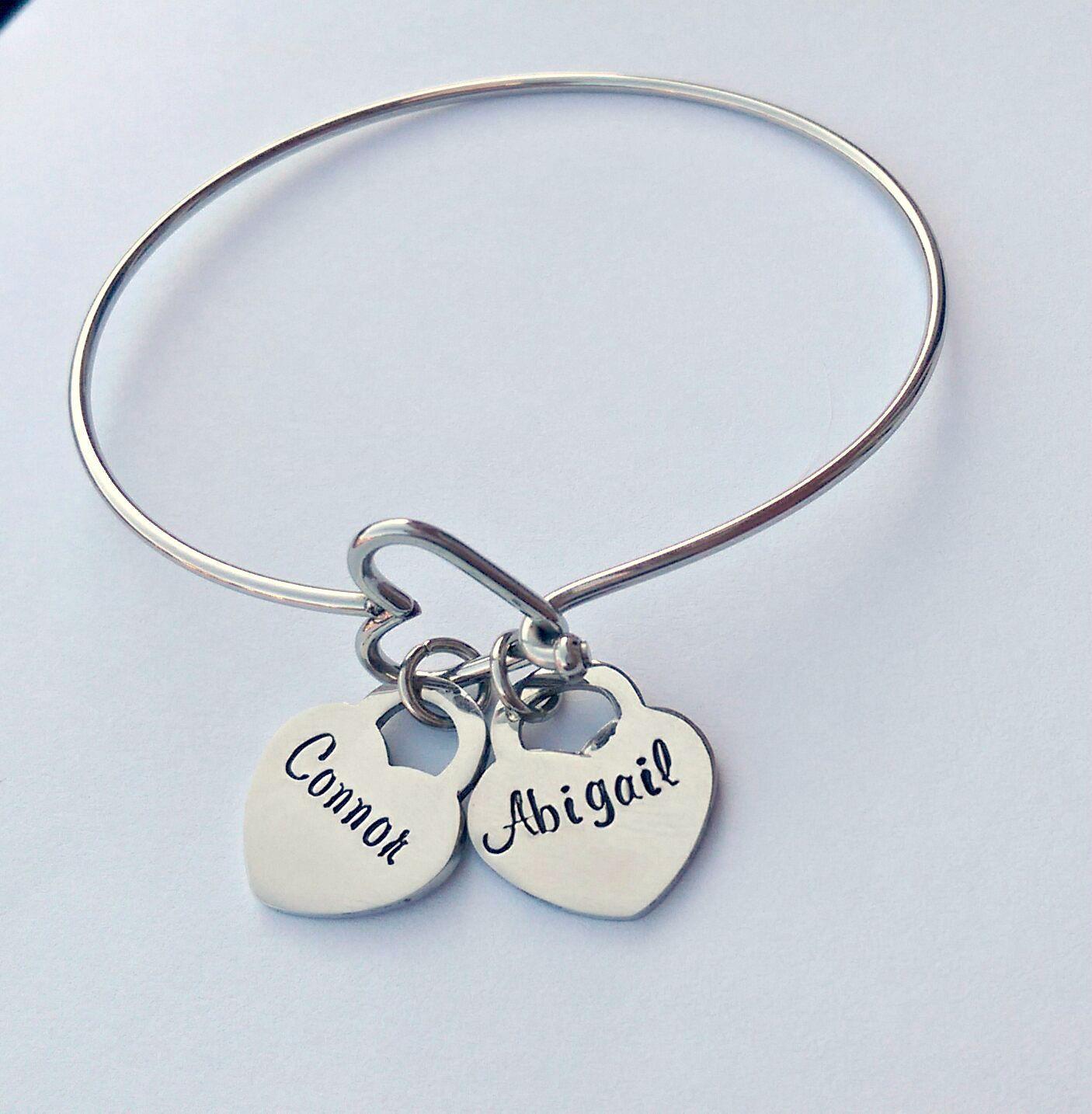 Personalised Heart Charm Bracelet  Name Birth Date Charms  Personalised Name  Bracelet  Personalized Gift