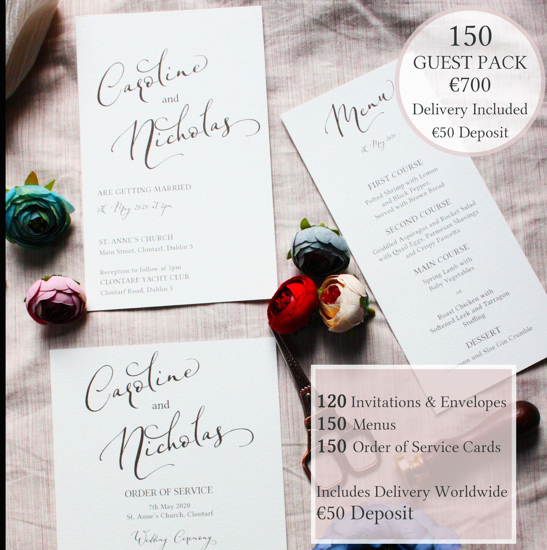 Romantic Elegant Script Wedding Invitation Pack Deposit Formal Wedding Stationery Bundle Deposit Formal Wedding Stationery Script Wedding Invitations Wedding Stationery