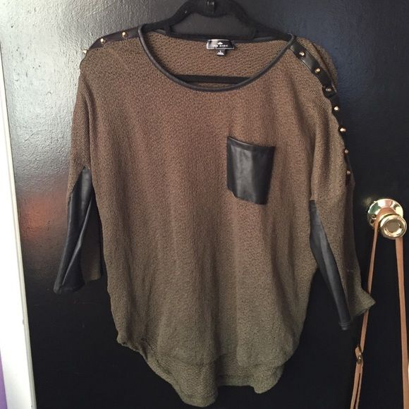 Olive green studded shirt Only worn once! Tops