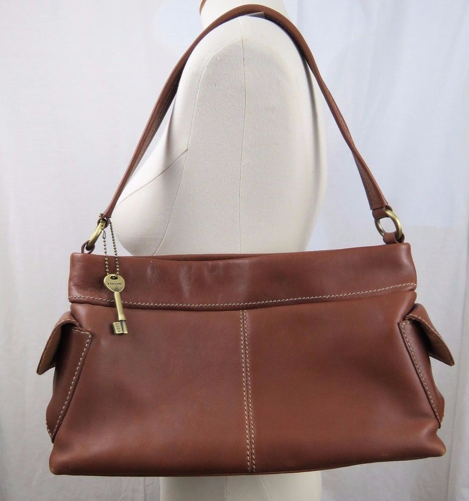 Details About Fossil East West Brown Leather Purse Handbag
