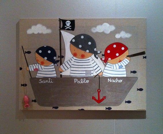 Cuadro 3 ni o piratas bebes pinterest ni os piratas - Cuadros habitacion ninos ...