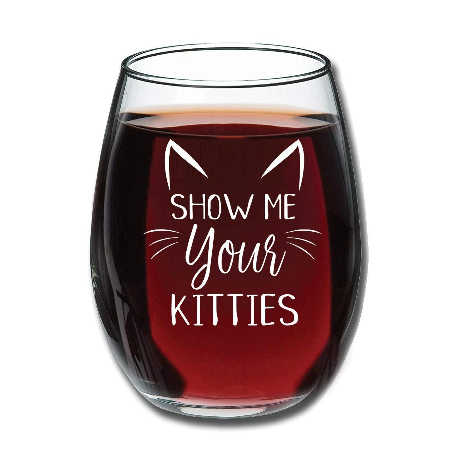 Show Me Your Kitties Wine Glass Gift Guru Gal Funny Wine Glass Gifts For Wine Lovers Unique Gifts For Mom