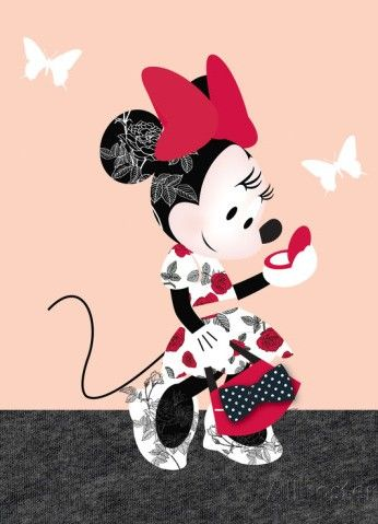 Lovely Minnie Mouse checking herself in her pocket mirror while going to do some shopping