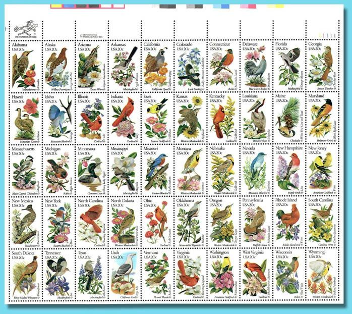 The 50 States Postage Stamps-Birds and Flowers | This is my ...