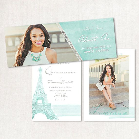 paris eiffel tower quinceanera save the date or wedding invitation