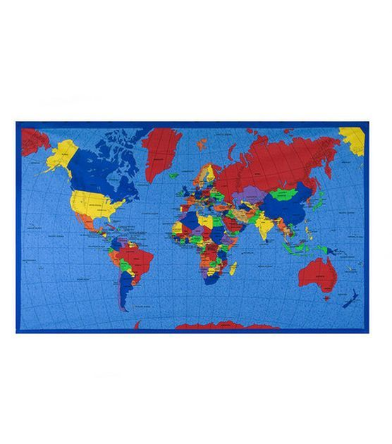 Novelty cotton fabric world map panel prek geography ss jo ann stores novelty cotton fabric world map panel at joann gumiabroncs Image collections