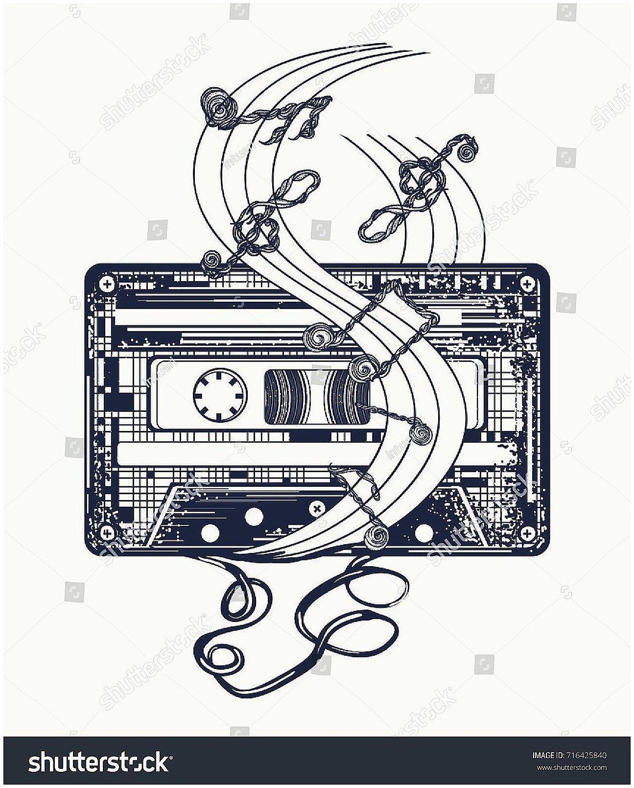retrotattooideas #tattoo audio cassette and music notes tattoo and t-shirt  design. symbol of retro music,… | music notes tattoo, music tattoos, music  symbol tattoo  pinterest