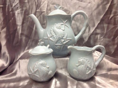 blue teapot with seahorse | Blue Sky Ceramics Seahorse Teapot Sugar and Creamer Set | eBay