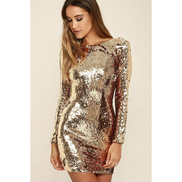 b285f8d3cbaf Dress the Population Lola Gold Sequin Dress ($257) ❤ liked on Polyvore  featuring dresses, gold bodycon dress, gold dress, sequin dresses, sexy  cocktail ...