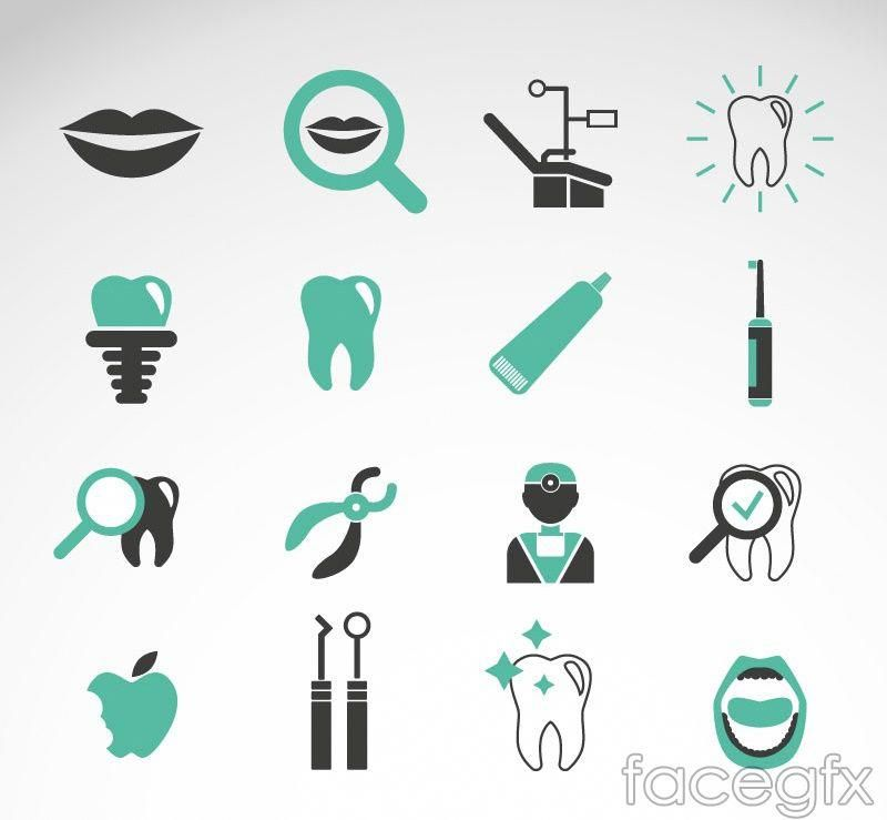 Free download 16 green teeth care icon vector free