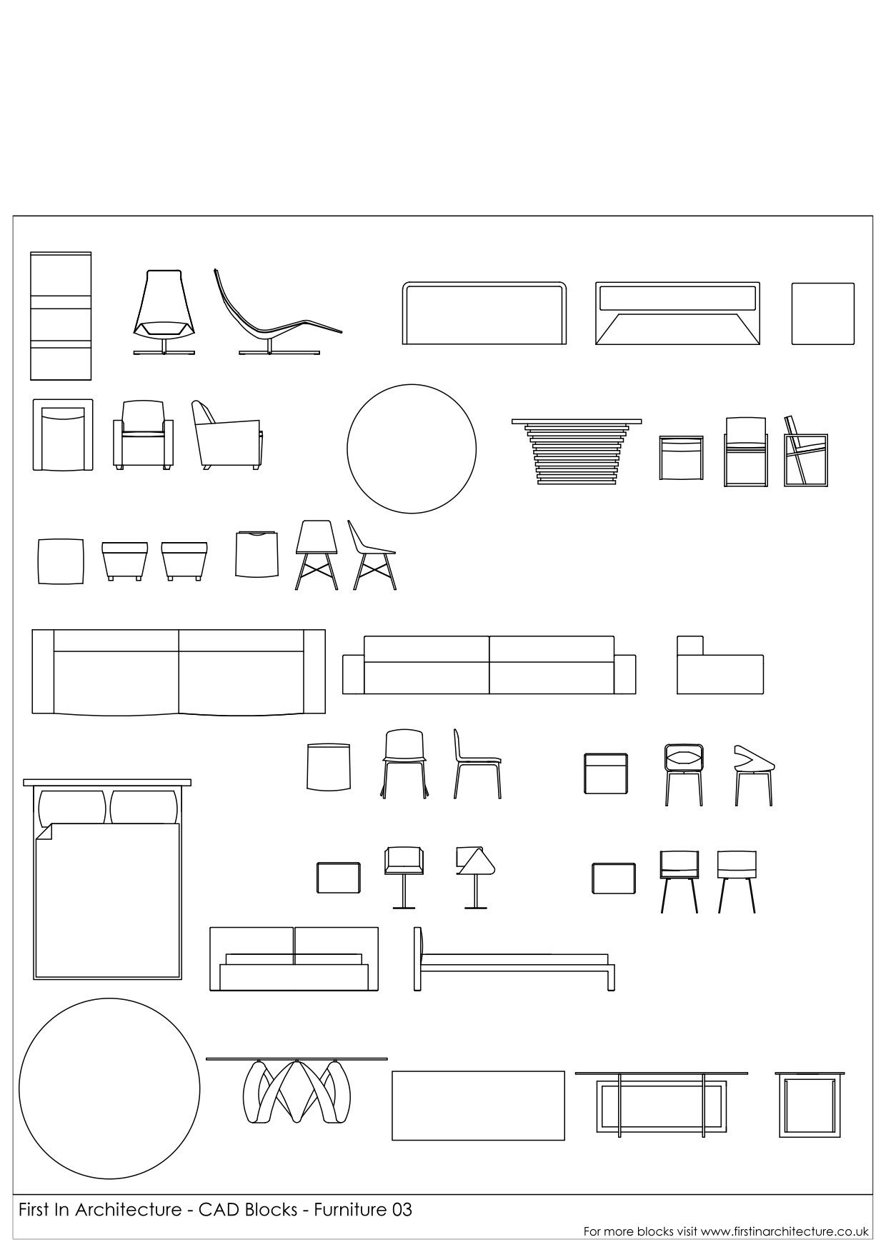 Different Architectural Styles Exterior House Designs: CAD Blocks - Furniture Pack 03