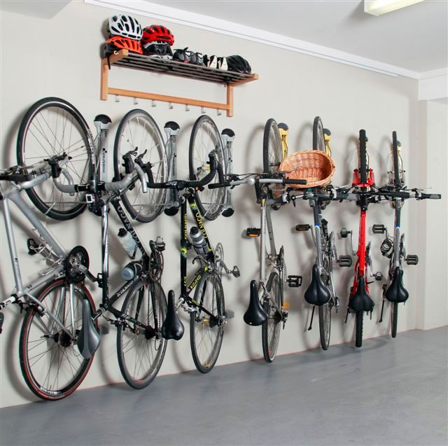 Garage Interior Ideas: Awesome Wall Bike Storage Ideas With Helmets Shelving In