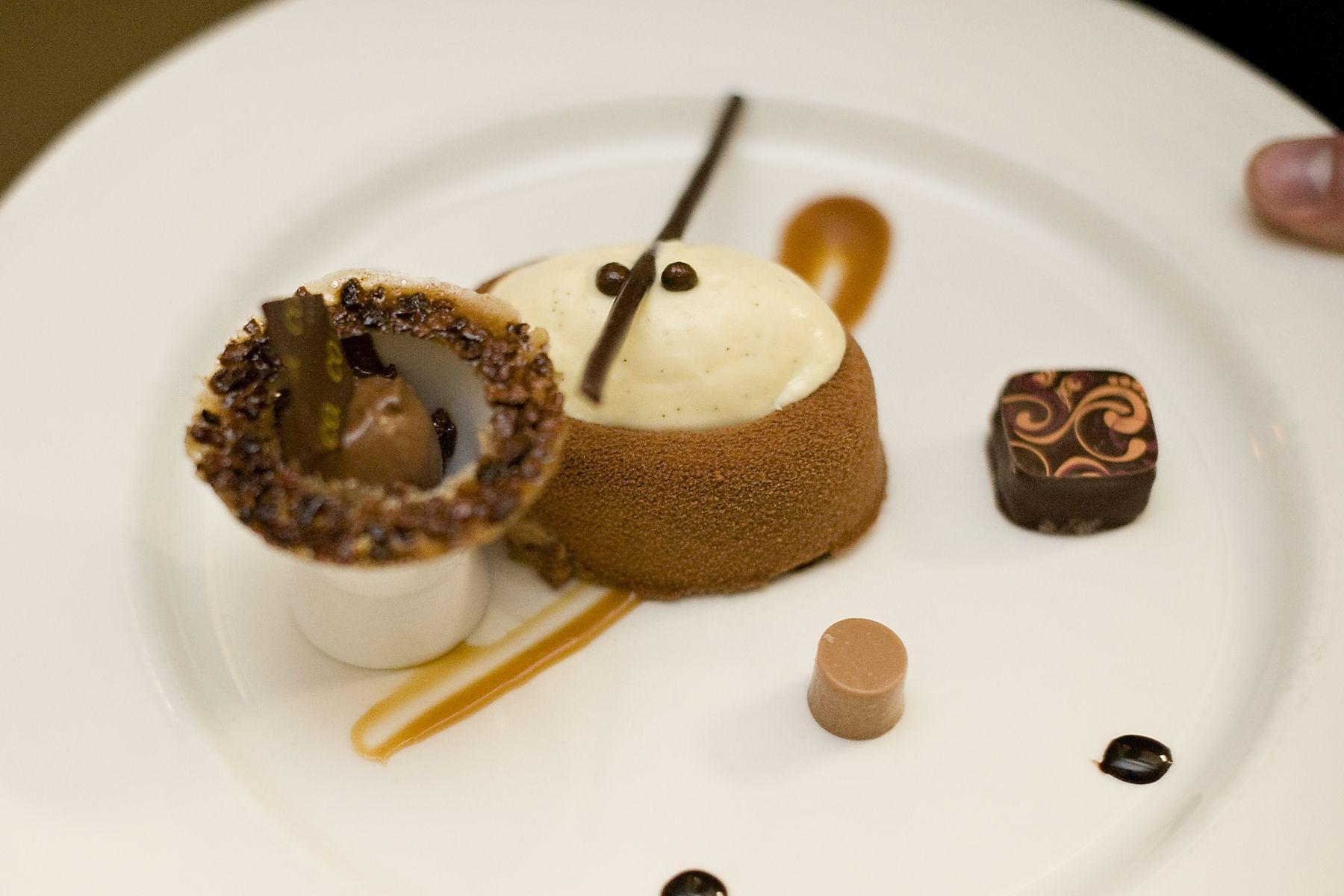 Pastry Chef Santosh Tiptur's Dark Chocolate Mousse, Vanilla Creme Brulee, Salted Caramel, Crunchy Chocolate Pearls, Dark Chocolate Sorbet and Cinnamon Toffee Bon Bon at the 2012 Hospitality Gala