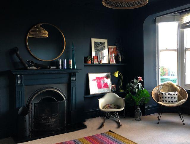 Pin by Gemma Amabile on Living room ideas   Dark walls ...