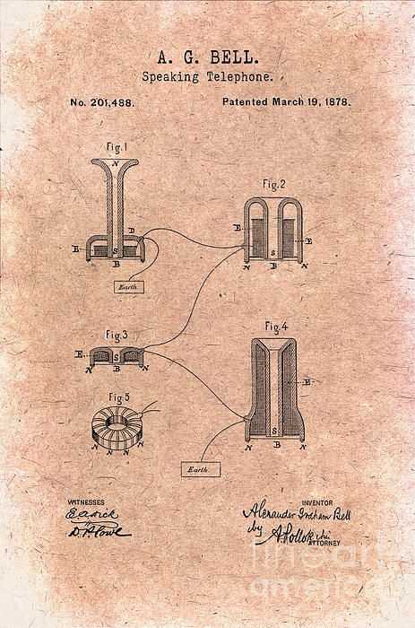 1878 Alexander Graham Bell Speaking Telephone Patent Art in Black on - copy blueprint decoded full