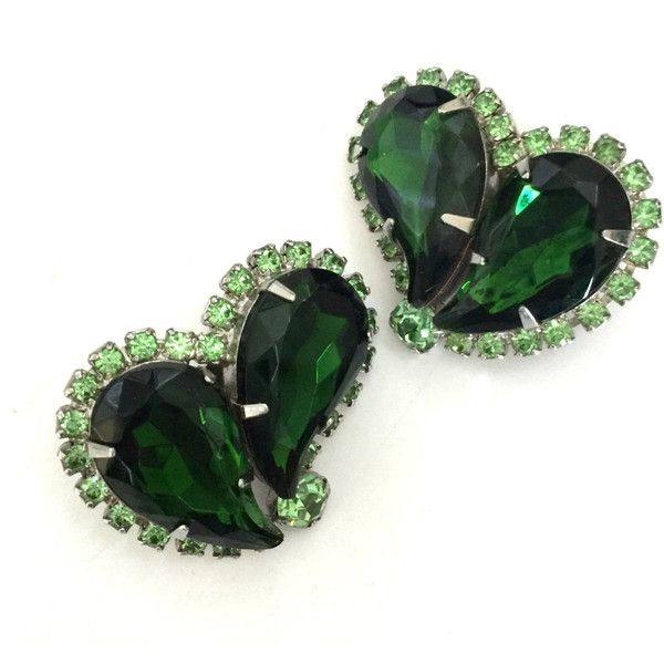 Green Rhinestone Earrings, Large Paisley Shaped Rhinestones, Soft... (€37) ❤ liked on Polyvore featuring jewelry, earrings, heart shaped earrings, rhinestone stud earrings, earring jewelry, rhinestone jewelry and green earrings