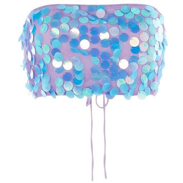 04c3fdbab53239 Iridescent Sequin Bandeau Top by Motel ($36) ❤ liked on Polyvore featuring  tops, purple, going out tops, white bandeau top, purple top, party tops and  ...