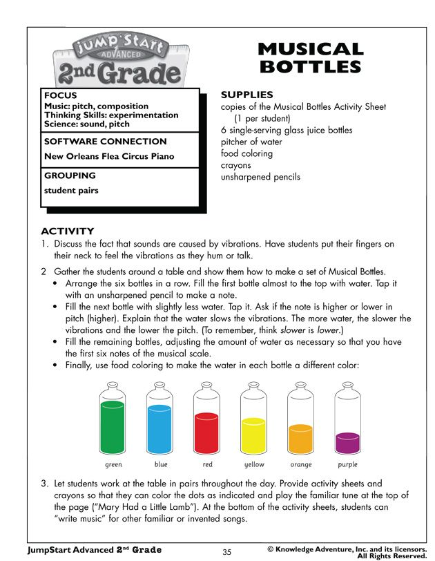Printable Worksheets science worksheets for second grade : Musical Bottles - Fun Music and Science Activities for Kids Just ...