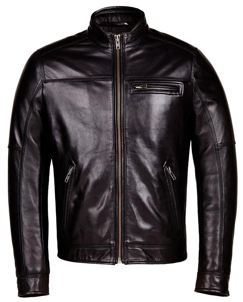 Designer Biker Black Leather Jacket Mens Genuine Leather