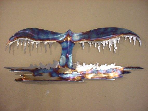 Whale Tail Fluke Steel Metal Wall Art Beach Ocean Coastal Home Decor Blue Humpback 145 00 Via Etsy