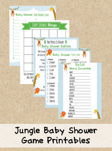 Charming FREE Printable Baby Shower Games   Jungle Theme