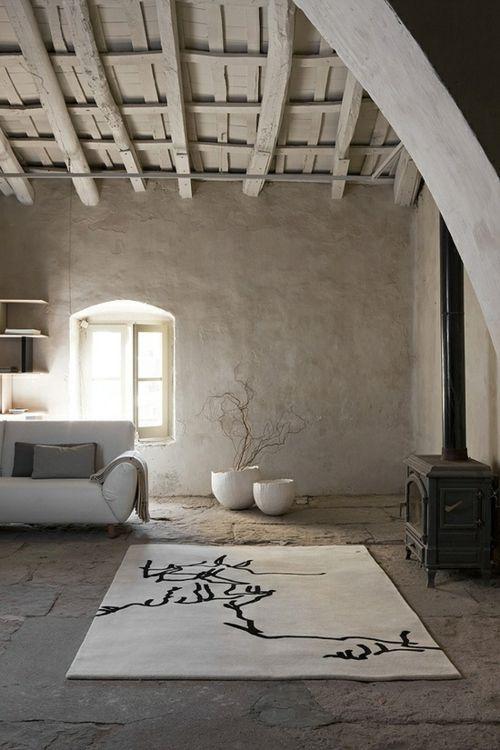 coole grunge interior designs teppich weiß beton boden, Innenarchitektur ideen