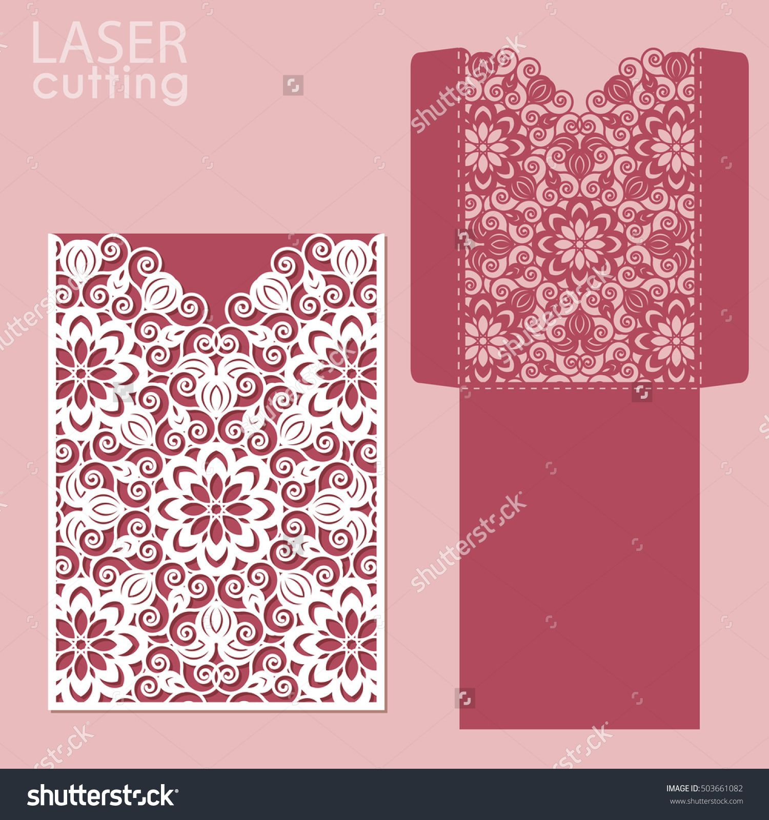 Die laser cut wedding card vector template Invitation envelope – Wedding Card Envelope Template