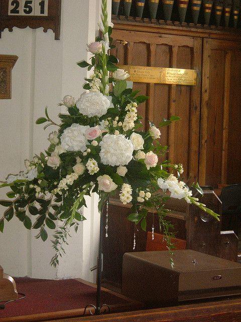 Wedding church flower arrangement (Elaine Blainey) by Flowers4Florists, via Flickr