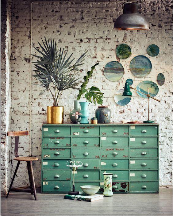 Meuble De Metier En Metal Vert Casiers Vintage Green Metal Furniture Dekor Haus Interieurs Haus Deko