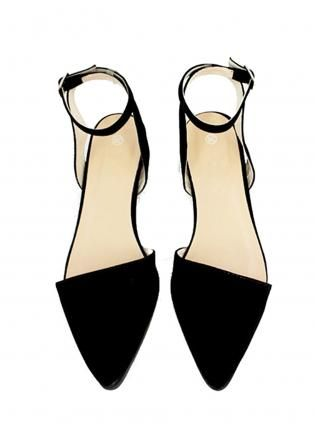 BLACK SUEDED POINTY ANKLE STRAP FLATS