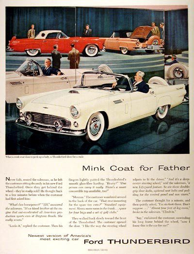 1956 Ford Thunderbirds Ford Thunderbird Automobile Advertising Old Ads