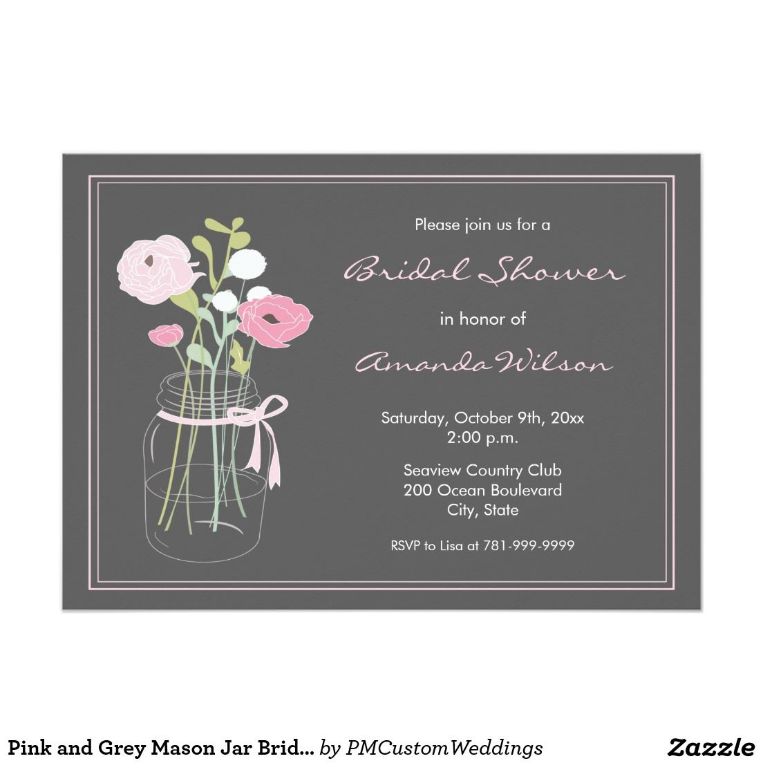 Pink and Grey Mason Jar Bridal Shower Invitation | Zazzle.co.uk ...