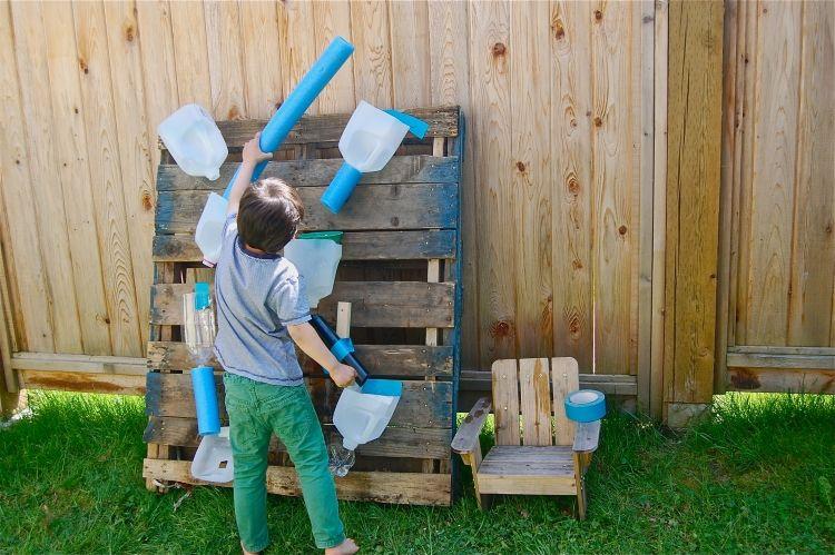 Kreatives Basteln Mit Kindern Draussen Wasserfall Kinder Garten