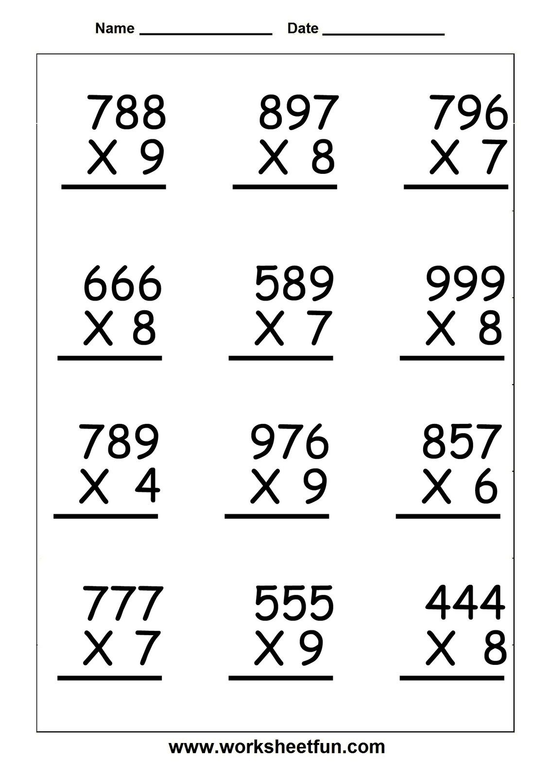 3 Digit by 2 Digit Multiplication Worksheet 3 – 4 Digit by 3 Digit Multiplication Worksheets