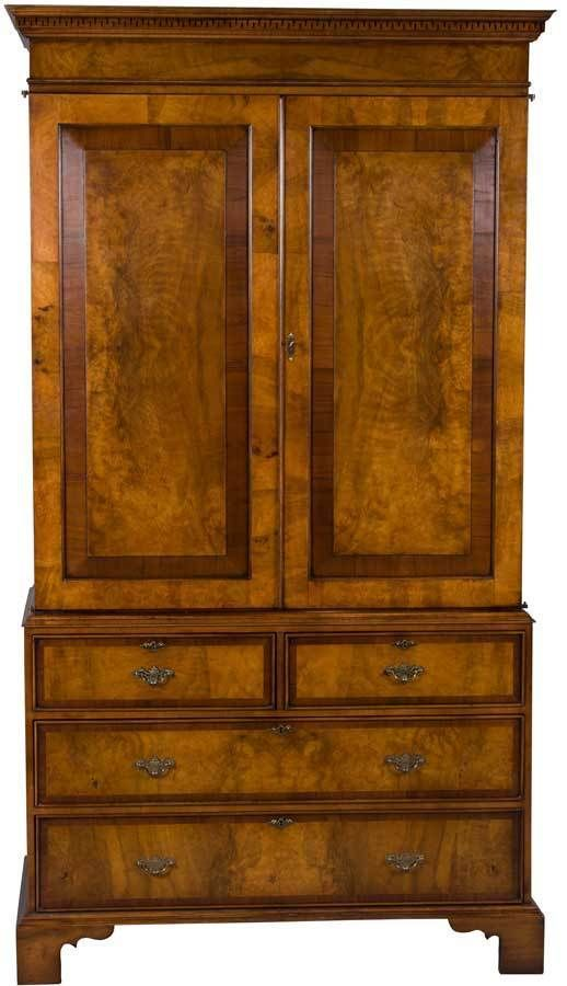 New Antique Style Walnut Linen Press Tv Cabinet Fully Opening Doors Adjule Georgian