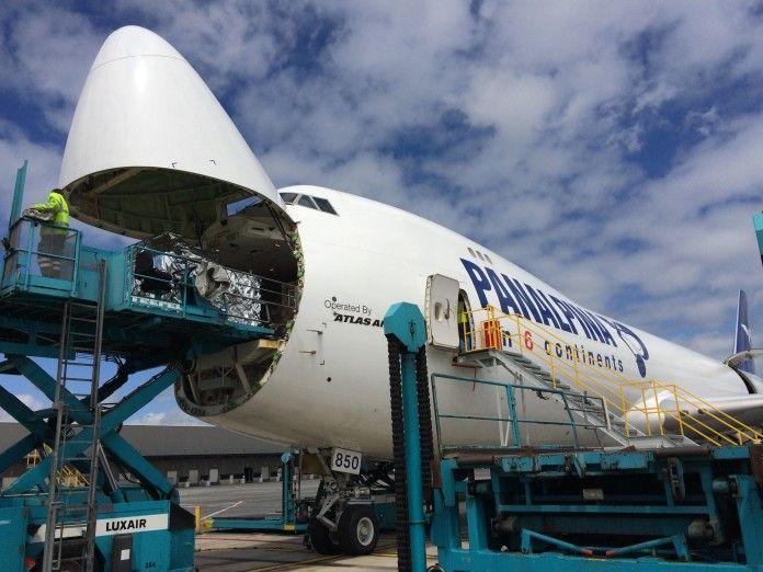 Atlas Air / Panalpina B747-8F freighter nose loading   Cargo   Cargo