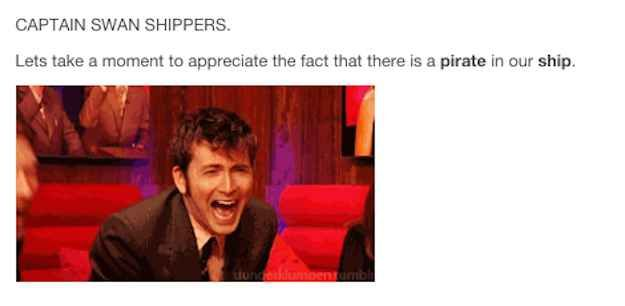 "When Captain Swan fans realized they were literal shippers. | 24 Jokes Only ""Once Upon A Time"" Fans Will Understand"