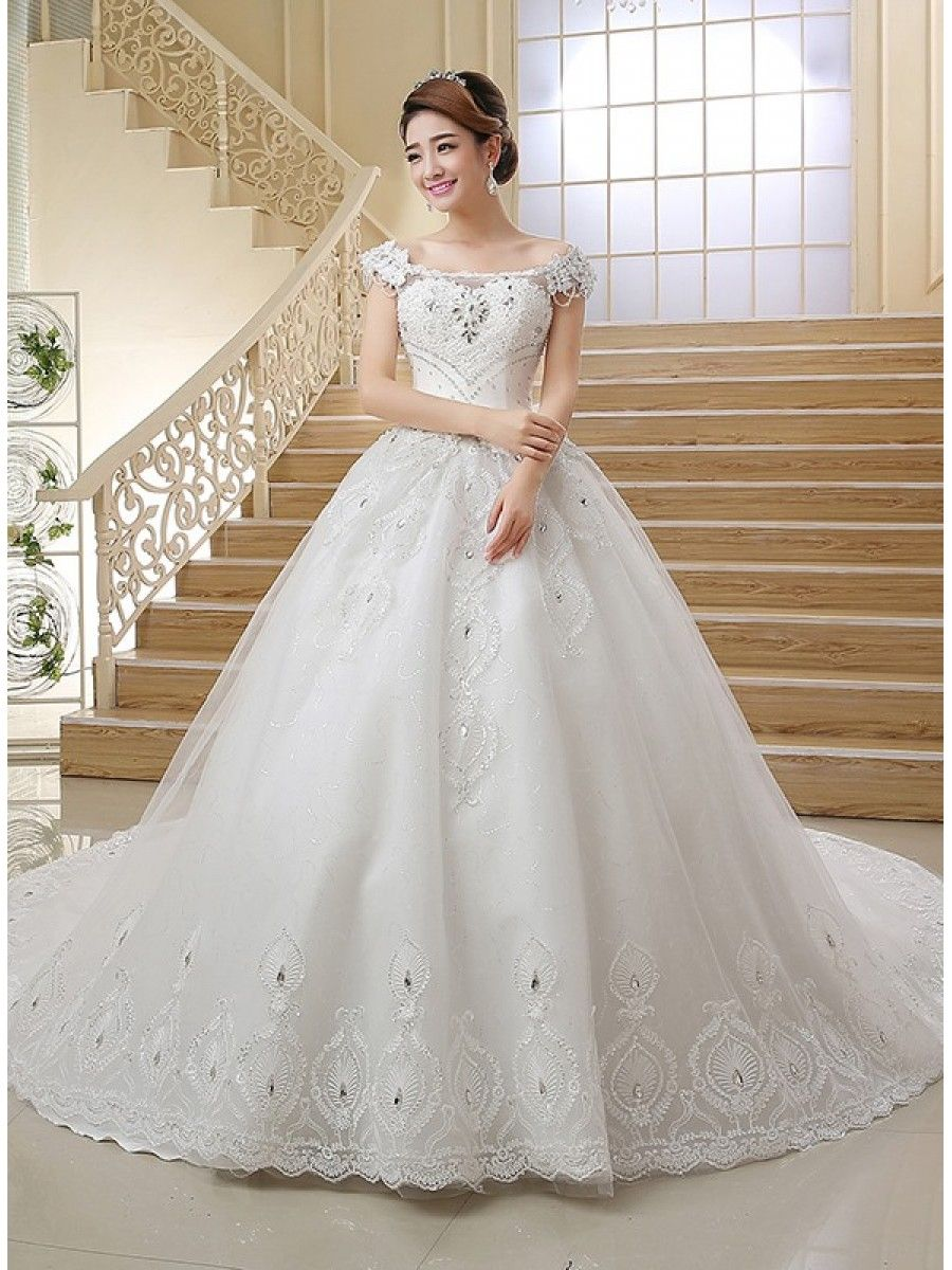 Ball Gown OfftheShoulder Lace Crystal Wedding Dresses