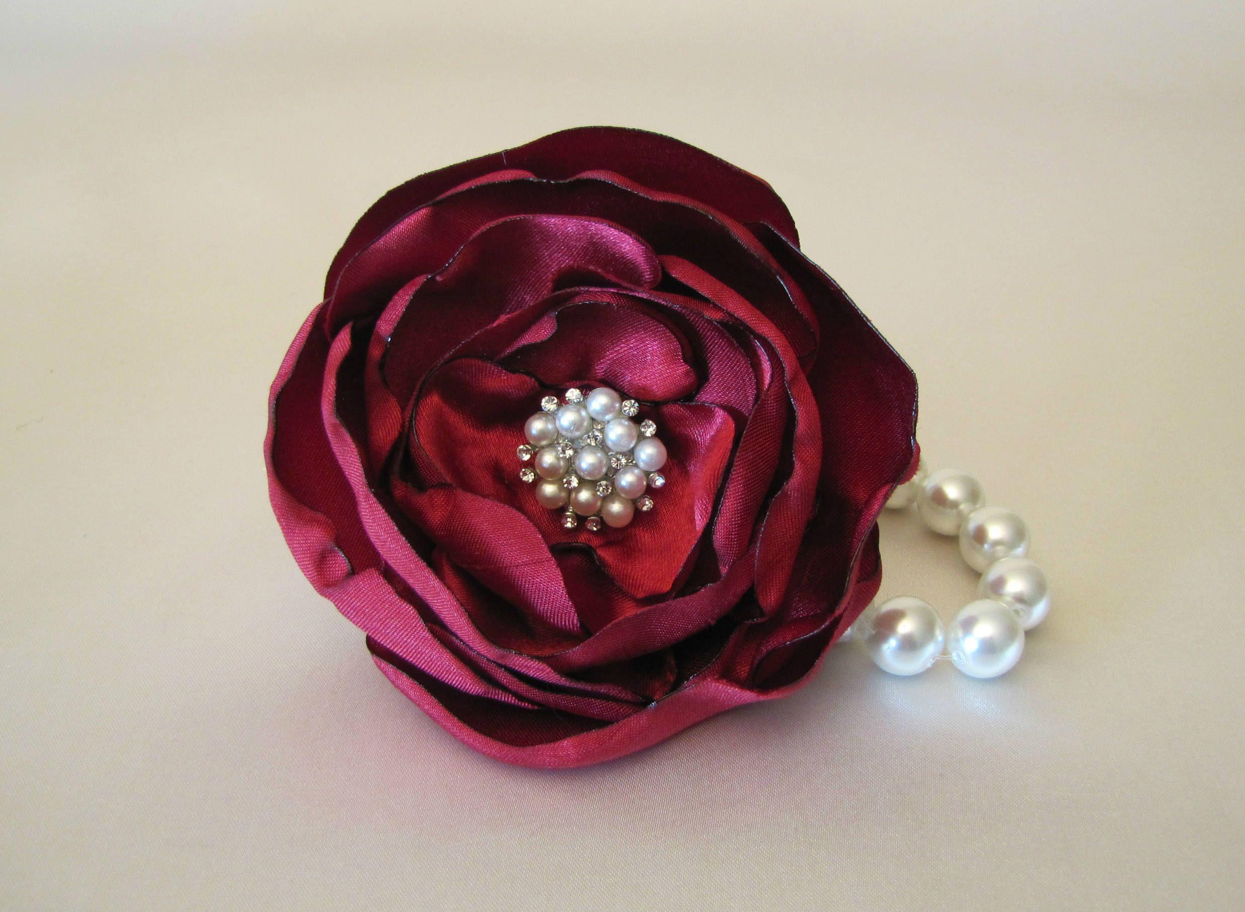 Burgundy Wrist Corsage Marsala Wedding Fabric Flower Bracelet