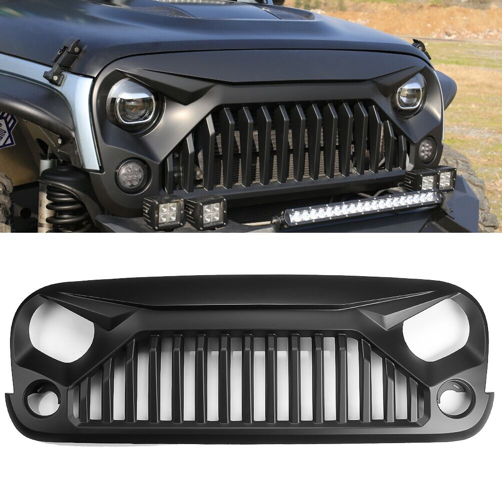 75 Front matte black angry bird grill for Jeep Wrangler