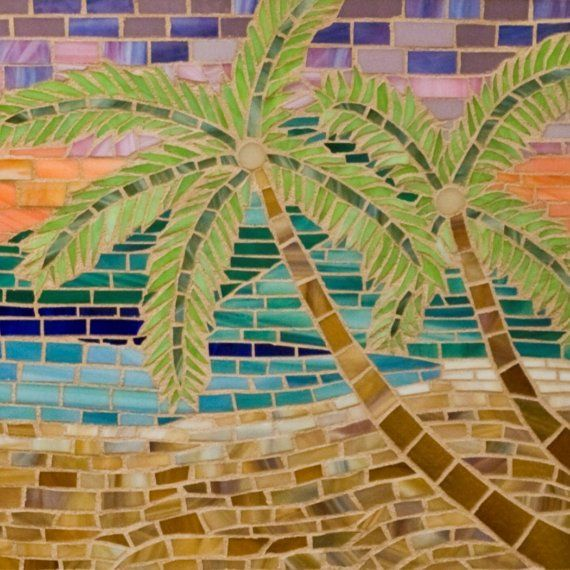 Paradise Glass Mosaic Beach Scene Mosaic Glass Beach