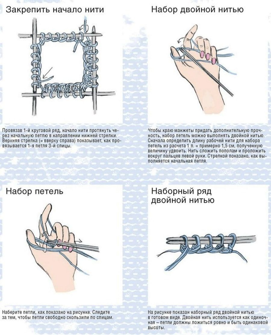 Как вязать спицами варежки для начинающих