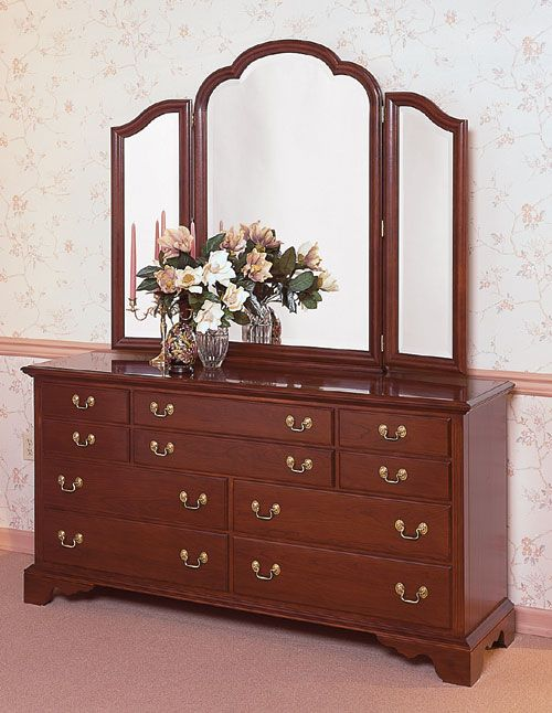 cherry triple dresser with trifold mirror by colonial furniture 570 374