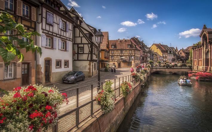 Lataa kuva Colmar, kesällä, taloja, canal, Alsace, Ranska