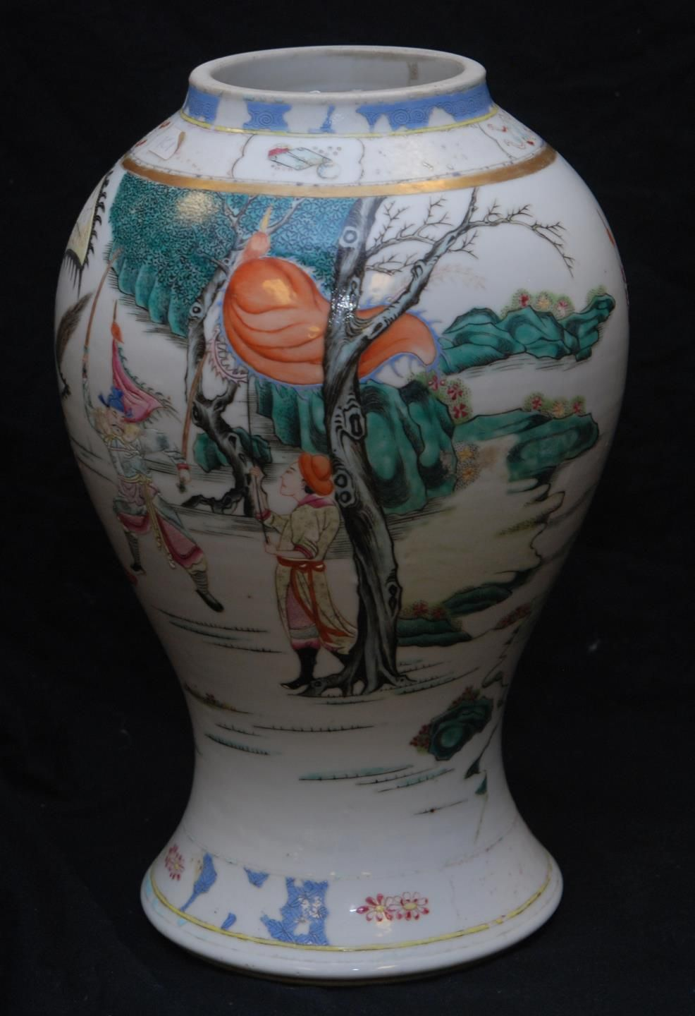 CHINESE VASE DEPICTING WARRIORS Bears the Ch'ien Lung mark 1736-1795